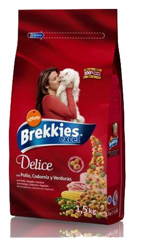 Brekkies (Брекис) Delice Meat Сухой корм для котов с курицей, перепелкой и ветчиной