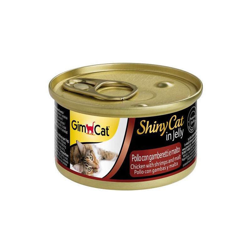 GimCat (ДжимКэт) ShinyCat - Консервированный корм с курицей, креветками и мальтом для кошек