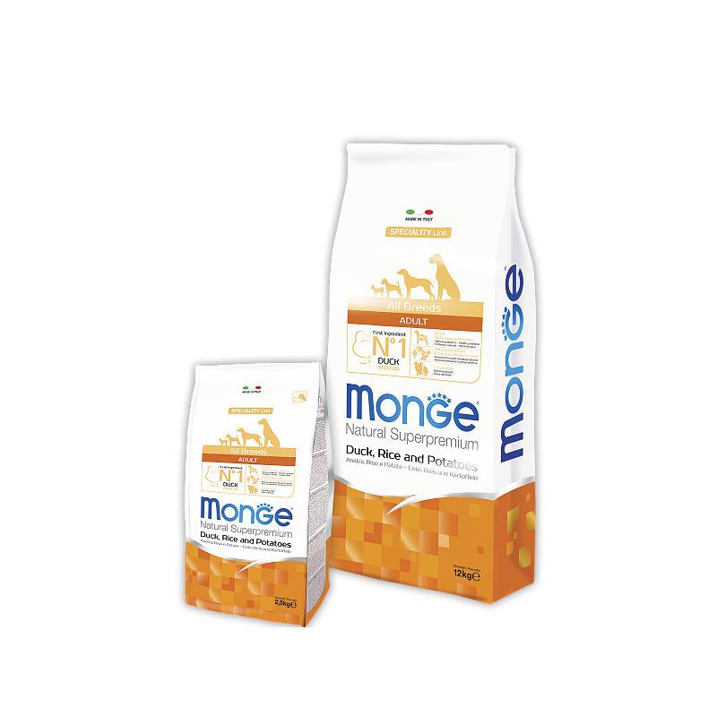 Сухой корм Monge  All Breeds Adult для взрослых собак всех пород с уткой и рисом
