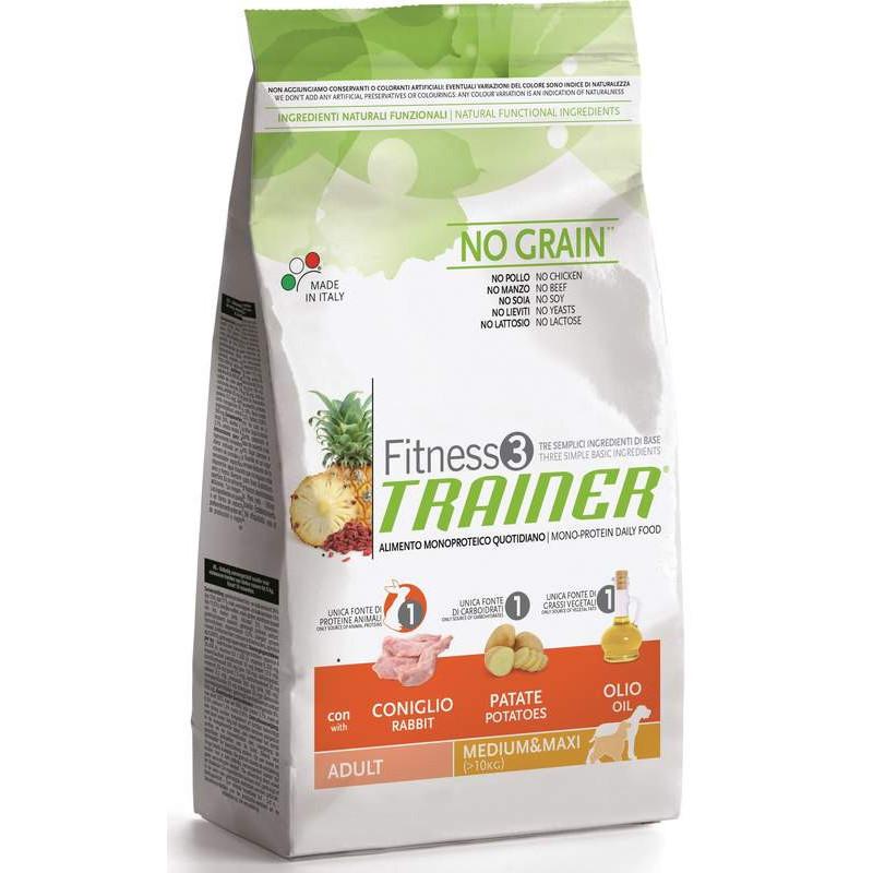 Trainer (Трейнер) Fitness 3 Adult Medium/Maxi With Rabbit - Сухой корм для взрослых собак средних и крупных пород (кролик)