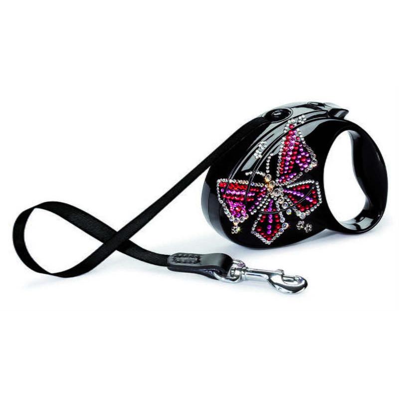 "Flexi (Флекси) Glam М - Поводок-рулетка для собак средних пород ""Бабочка"", лента (5м, до 25 кг)"
