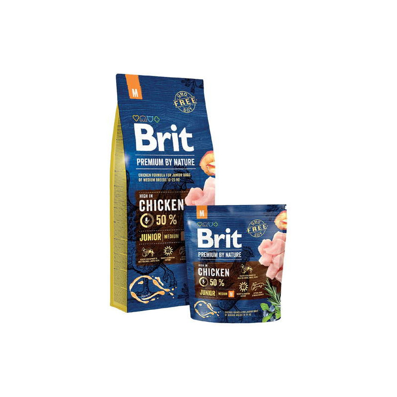 Brit Premium (Брит Премиум) by Nature JUNIOR M - Сухой корм с курицей для щенков и молодых собак средних пород