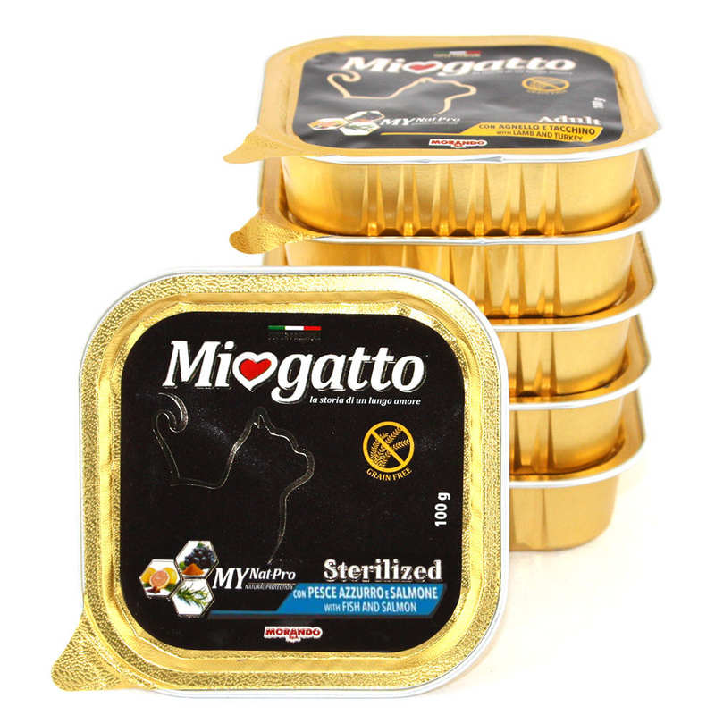 Morando (Морандо) Miogatto Sterilized Fish and Salmon. Влажный корм с лососем для взрослых стерилизованных котов и кошек