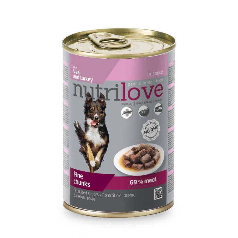Nutrilove (Нутрилав ) Veal and Turkey in sauce - Консервы для собак с телятиной и индейкой в соусе