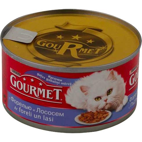 Gourmet Red (Гурмет Ред) - Консервы с кусочками форели и лосося в соусе для кошек