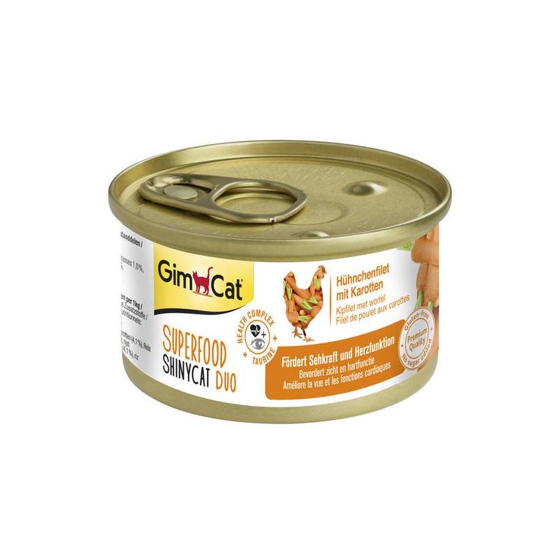 GimCat (ДжимКэт) SUPERFOOD ShinyCat Duo - Консервированный корм - паштет с курицей и морковью для котов