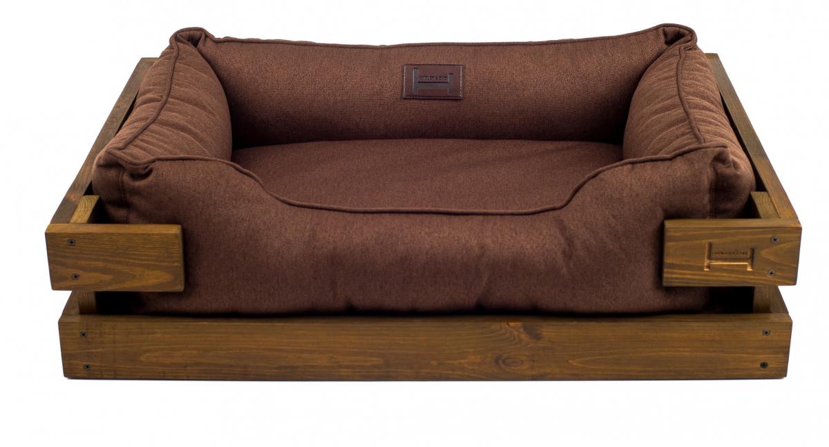 Лежак в каркасе мебельная рогожка (тёмное дерево) HARLEY & CHO DREAMER для котов и собак - Фото 8