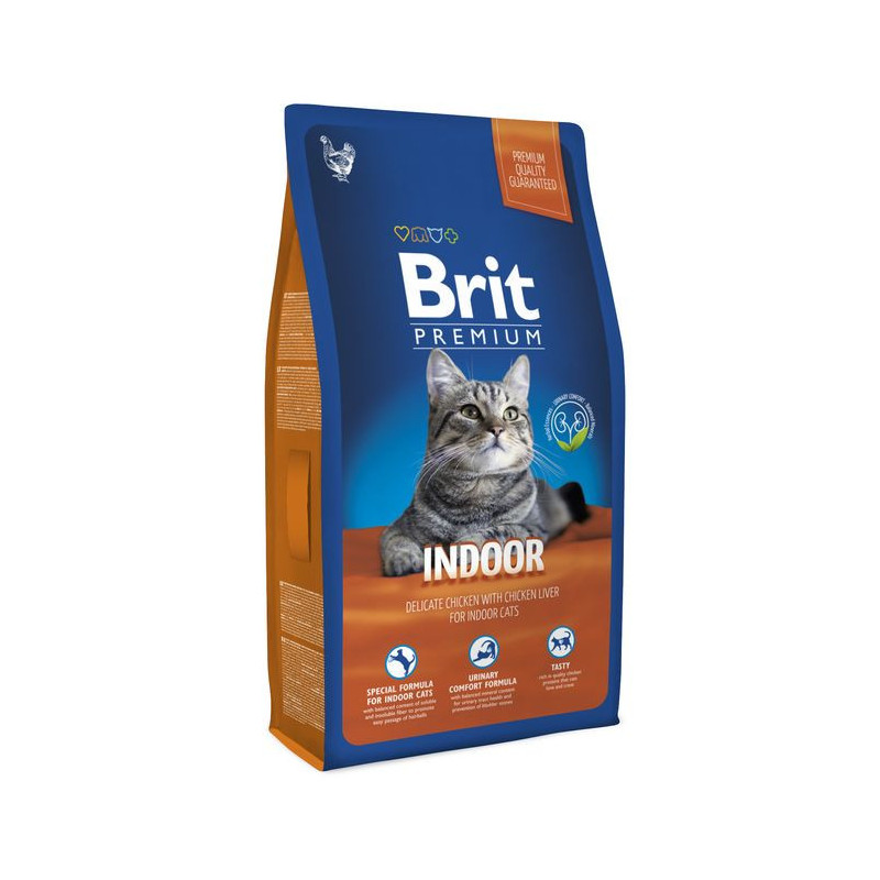 Brit Premium (Брит Премиум) Cat Indoor. Сухой корм с курицей для домашних кошек