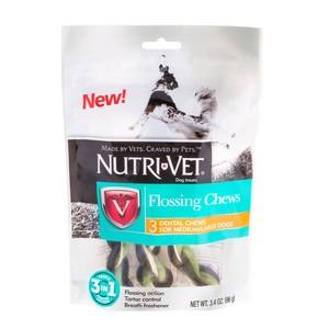 Лакомство Nutri-Vet Flossing Chews 3in1 жевательное, с зубной нитью для собак средних и крупных пород