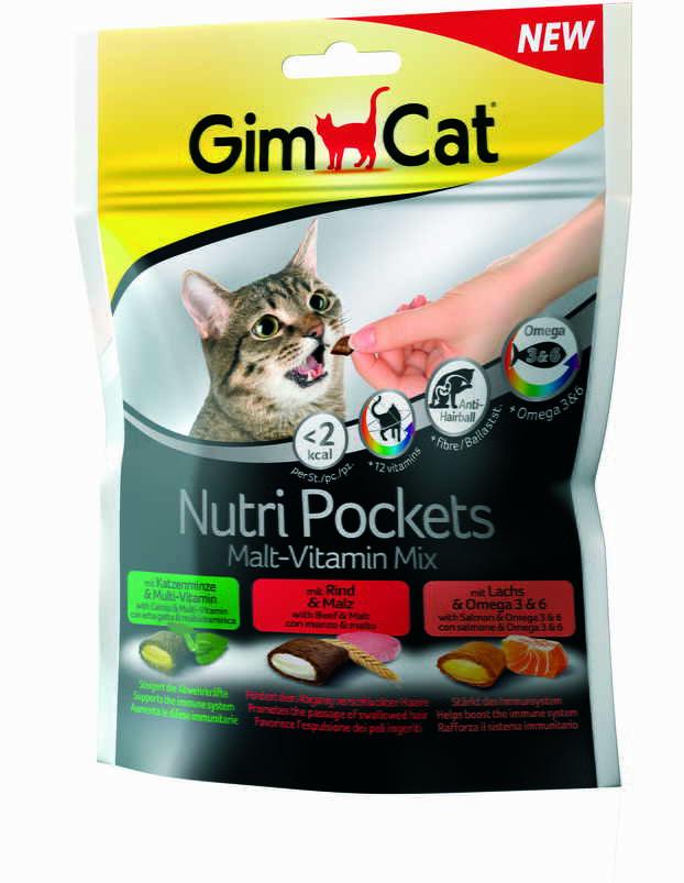 GimCat Nutri Pockets Malt-Vitamin Mix Подушечки с полезной начинкой для котов