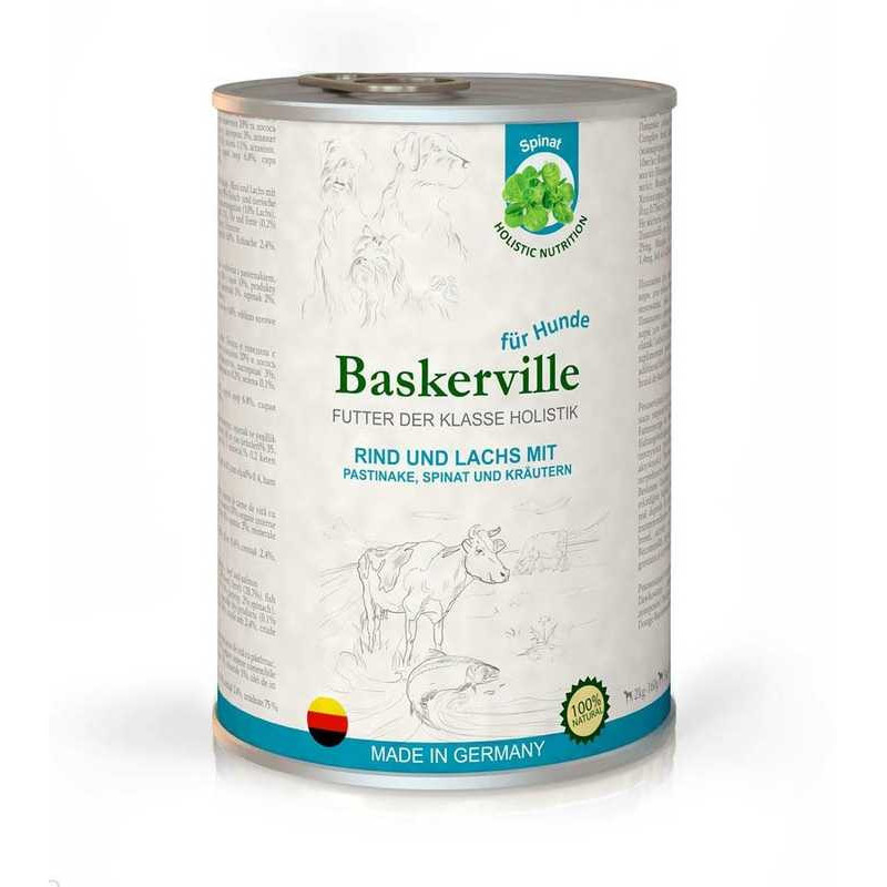 Baskerville (Баскервиль) Holistic Rind und Lachs Mit Pastinake - Консервы для собак с лососем, говядиной и шпинатом