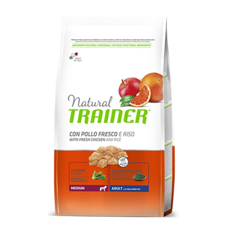 Trainer (Трейнер) Natural Adult Medium Con Pollo Fresco, Riso & Aloe Vera. Сухой корм с курицей, рисом и Алоэ Вера для взрослых собак средних пород