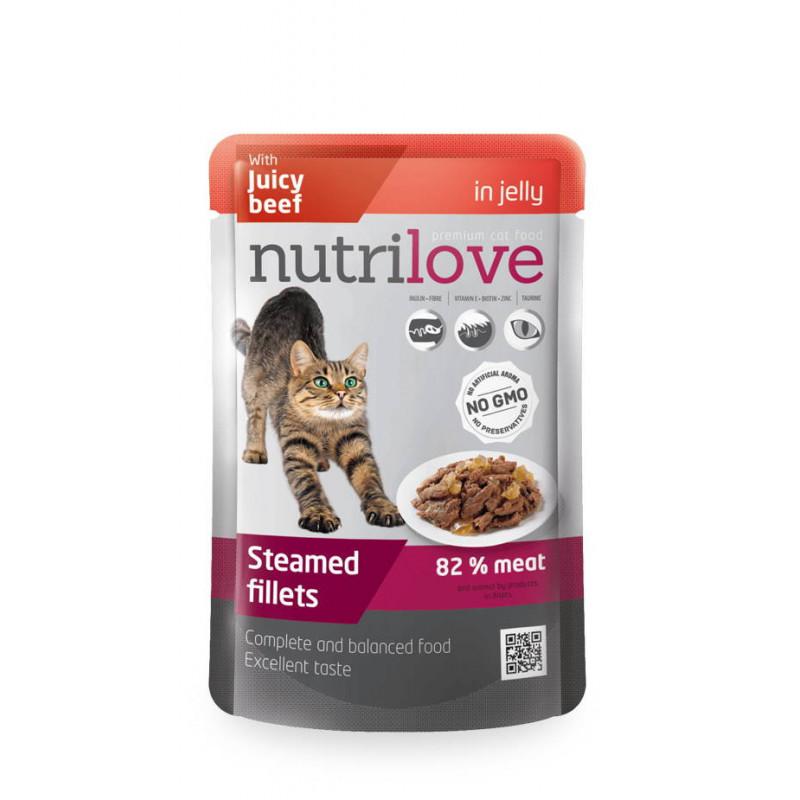 Nutrilove (Нутрилав) Beef in jelly. Консервы с нежной говядиной в желе для кошек