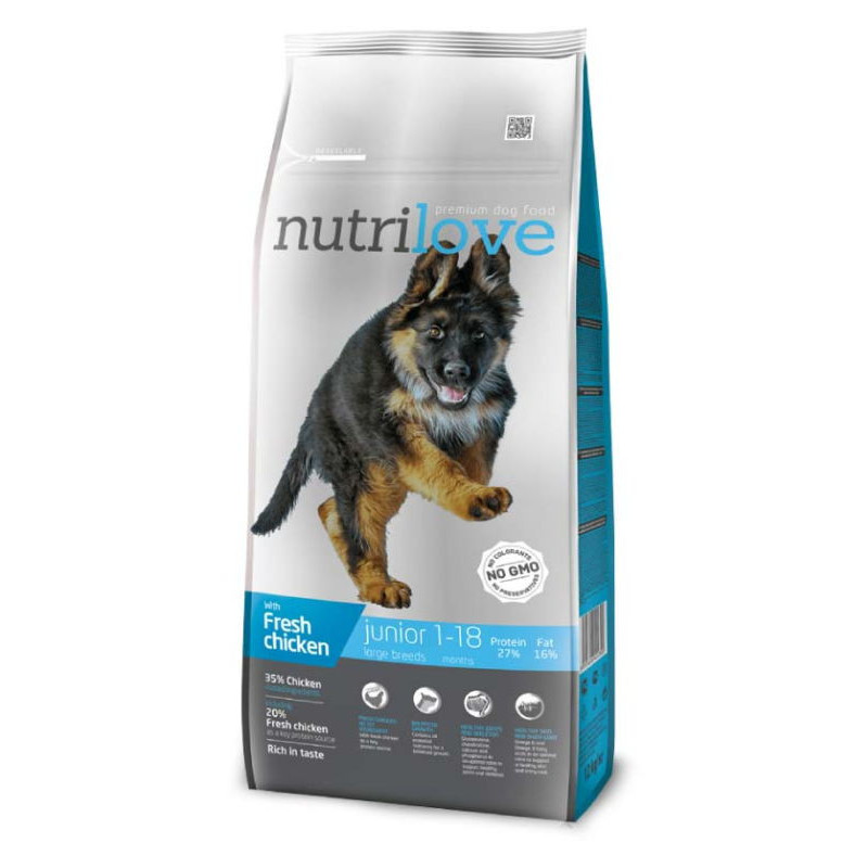 Nutrilove (Нутрилав ) Junior Large Breeds - Корм для щенков крупных пород с курицей и рисом