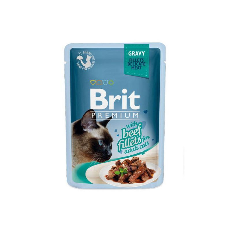 Brit Premium (Брит Премиум) Cat Beef fillets in Gravy - Влажный корм с кусочками из филе говядины в соусе для кошек