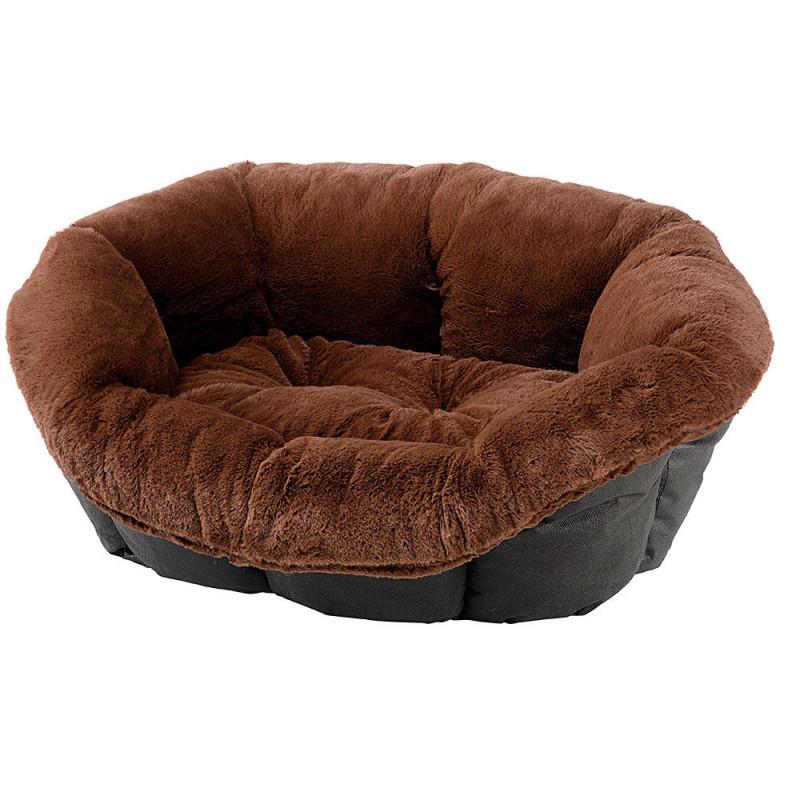 Лежак пластиковый в меховом чехле FERPLAST Sofa для кошек и собак маленьких пород