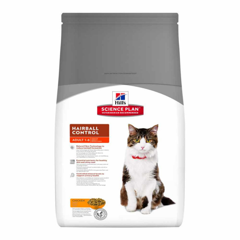 Hill's (Хиллс) Science Plan Hairball Control Adult with Chicken - Сухой корм с курицей для взрослых кошек, предотвращяющий появление комков шерсти