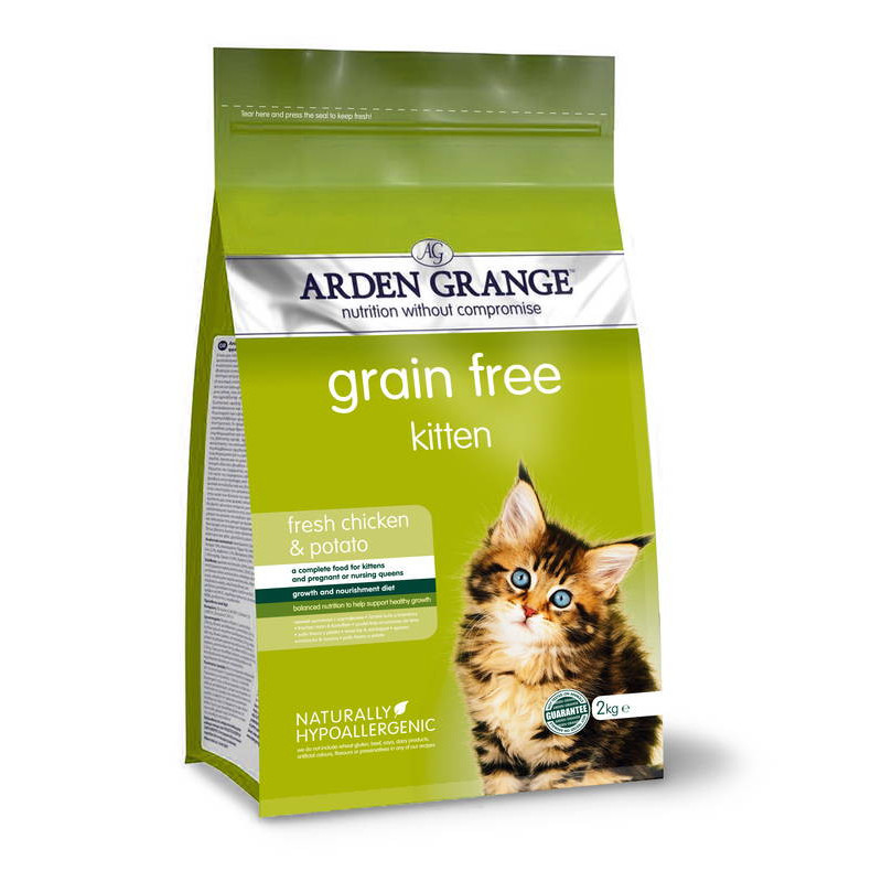 Arden Grange (Арден Гранж) Kitten with fresh chicken & potato. Сухой беззерновой корм с курицей и картофелем для котят от 5 недель до 1 года