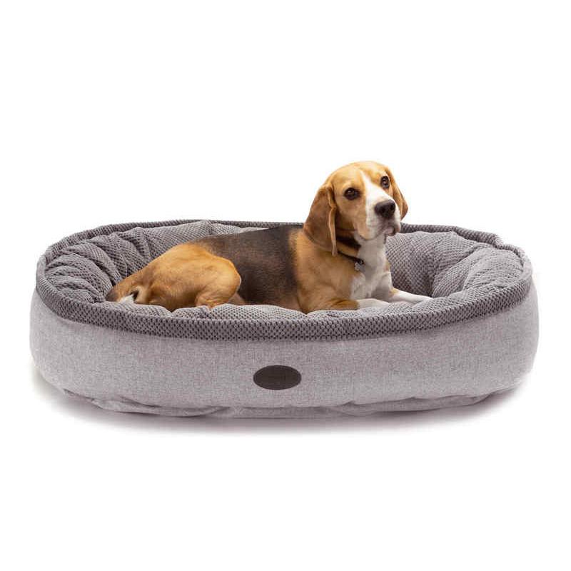 HARLEY & CHO  Donut Soft Touch Gray - Овальный лежак для собак (серый)