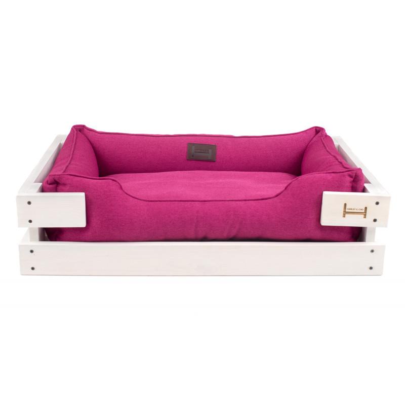 Лежак в каркасе мебельная рогожка (белое дерево) HARLEY & CHO DREAMER для котов и собак