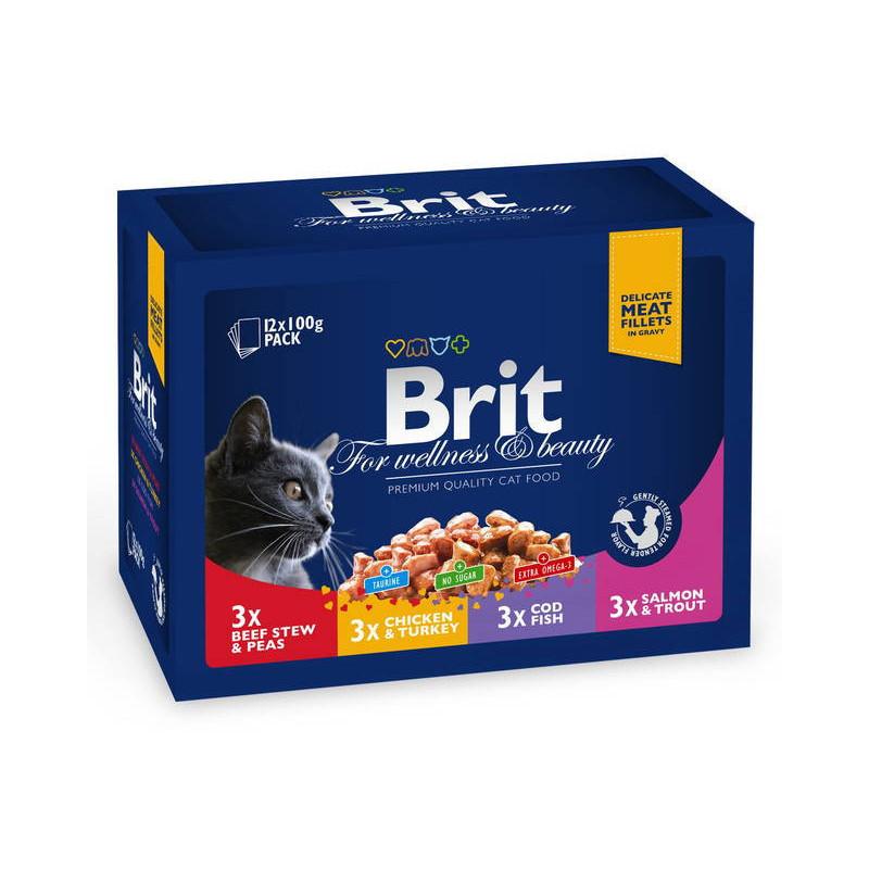 Brit Premium (Брит Премиум) Cat Family Plate in Gravy - Набор паучей