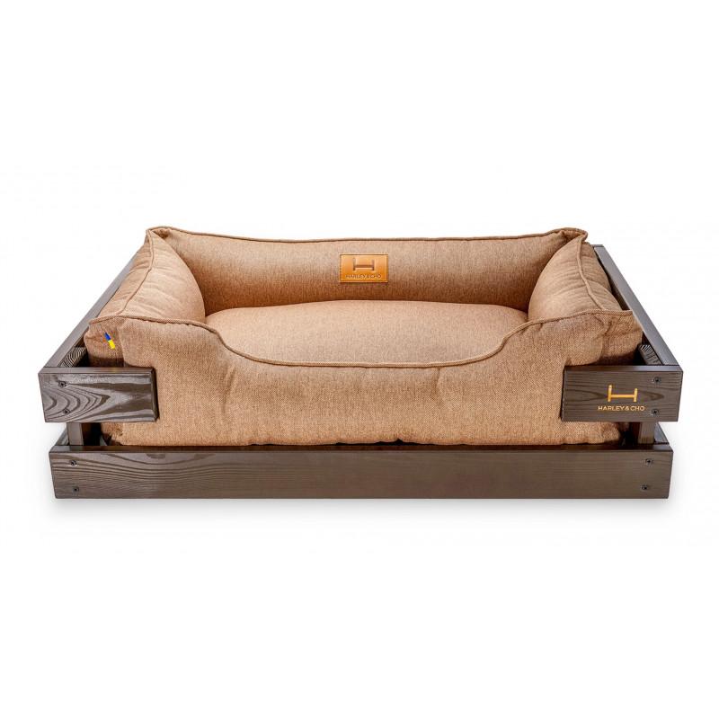 Лежак в каркасе мебельная рогожка (светлое дерево) HARLEY & CHO DREAMER для котов и собак