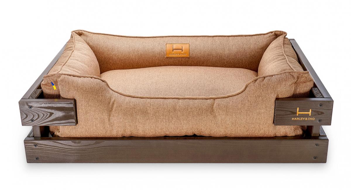 Лежак в каркасе мебельная рогожка (тёмное дерево) HARLEY & CHO DREAMER для котов и собак - Фото 4