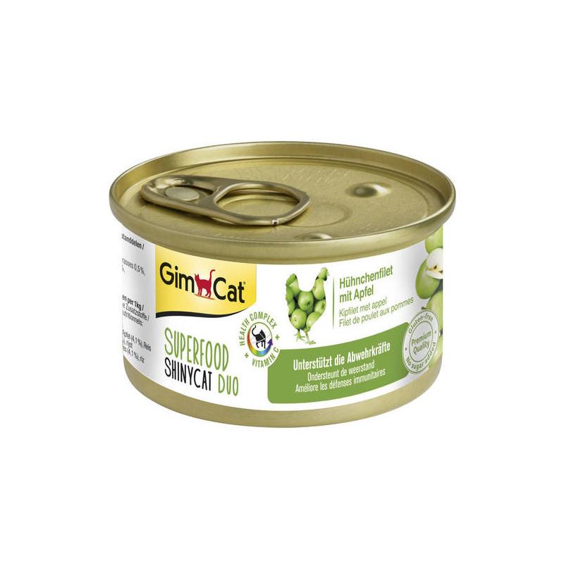 GimCat (ДжимКэт) SUPERFOOD ShinyCat Duo - Консервированный корм паштет с курицей и яблоком для котов