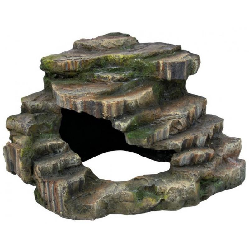 Trixie (Трикси) Decoration Corner Rock with Cave and Platform - Декорация скала с пещерой и платформой для террариума высотой 15 см