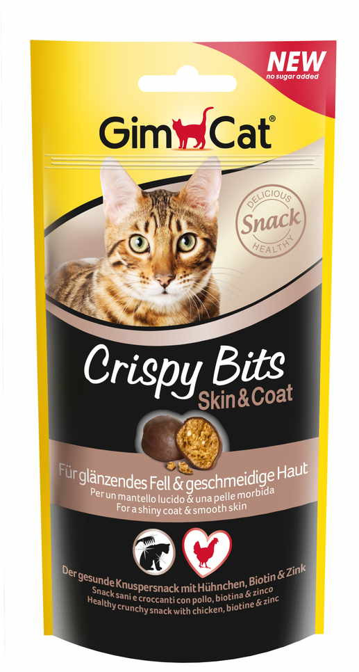 GimСat (ДжимКэт) Crispy Bits Skin&Coat. Лакомство с курицей для котов, здоровье кожи и шерсти у котов