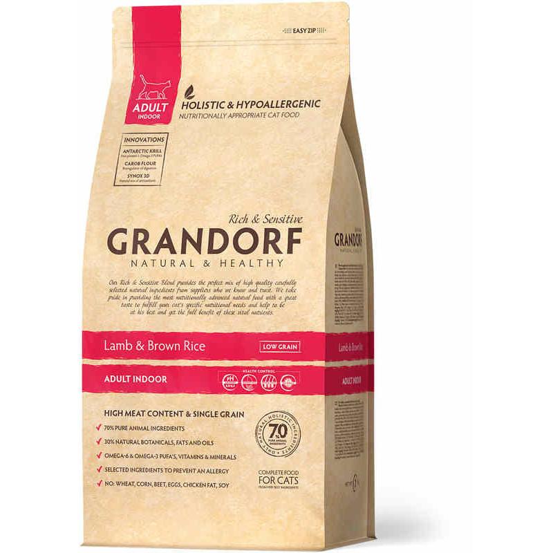 Grandorf (Грандорф) Lamb&Brown Rice ADULT INDOOR - Сухой корм с ягненком и рисом для взрослых, домашних кошек