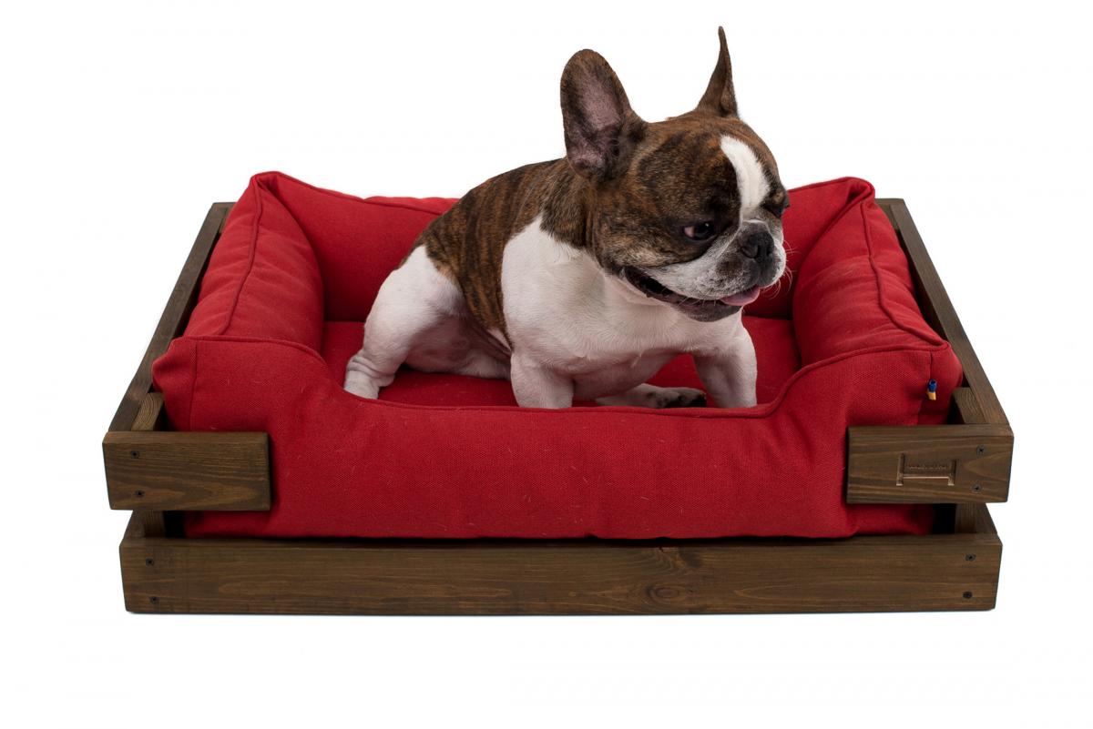 Лежак в каркасе мебельная рогожка (тёмное дерево) HARLEY & CHO DREAMER для котов и собак - Фото 25