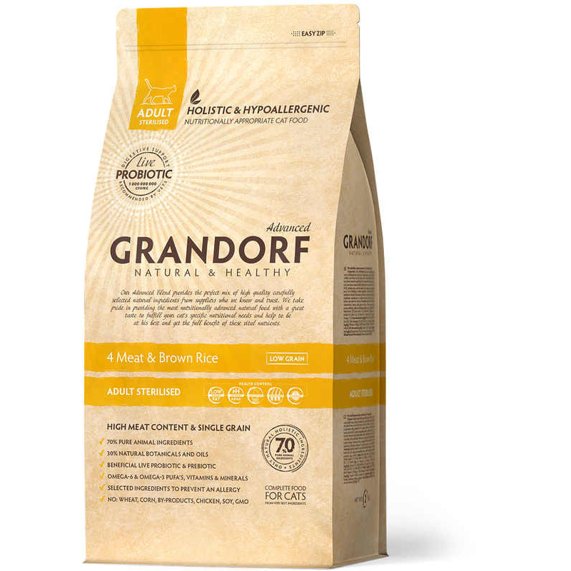 Grandorf (Грандорф) 4 Meat & Brown Rice STERILIZED - Сухой корм с 4 видами мяса и рисом для стерилизованных котов