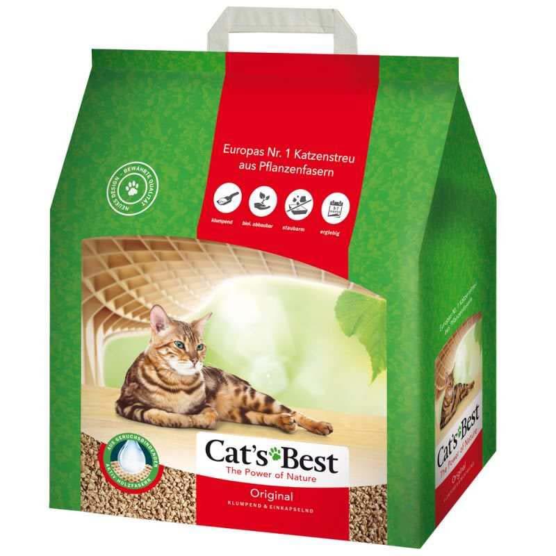 Cat's Best (Кэтс Бест) Original - Древесный хлопьевидный комкующийся наполнитель для кошачьего туалета