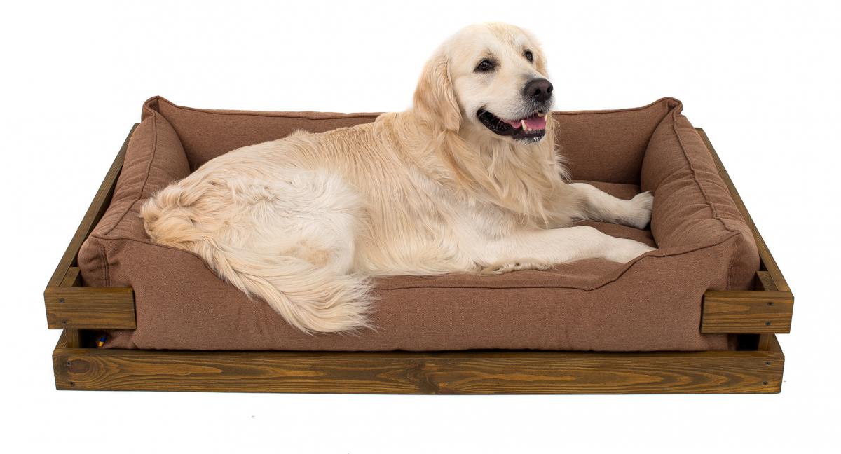 Лежак в каркасе мебельная рогожка (тёмное дерево) HARLEY & CHO DREAMER для котов и собак - Фото 14