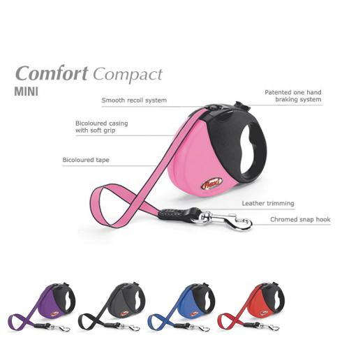 Flexi (Флекси) New Comfort ХS - Поводок-рулетка для собак мелких пород, лента  (3 м, до 12 кг)
