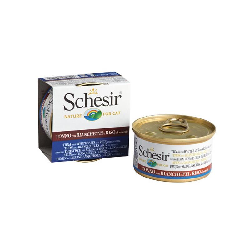 Schesir (Шезир) Tuna, Whitebait & Rice - Консервированный корм с мясом тунца, анчоусами и рисом для взрослых котов и кошек