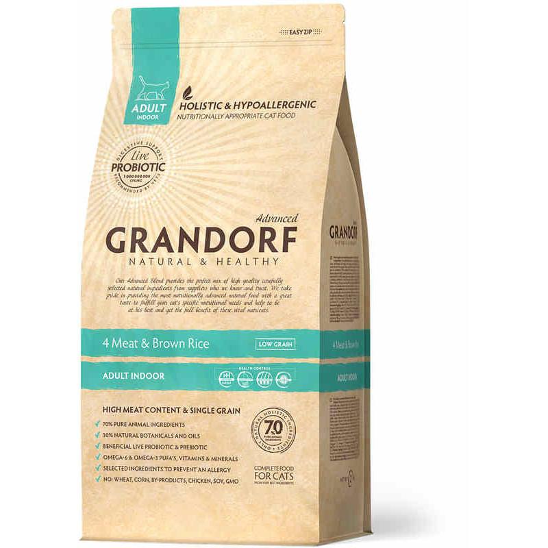 Grandorf (Грандорф) Probiotics 4 Meat & Brown Rice INDOOR - Сухой корм с 4 видами мяса и рисом для взрослых, домашних котов