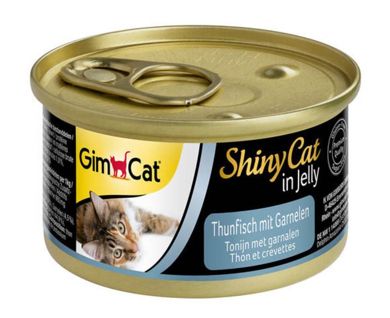 GimCat (ДжимКэт) ShinyCat - Консервированный корм с тунцом и креветками для кошек