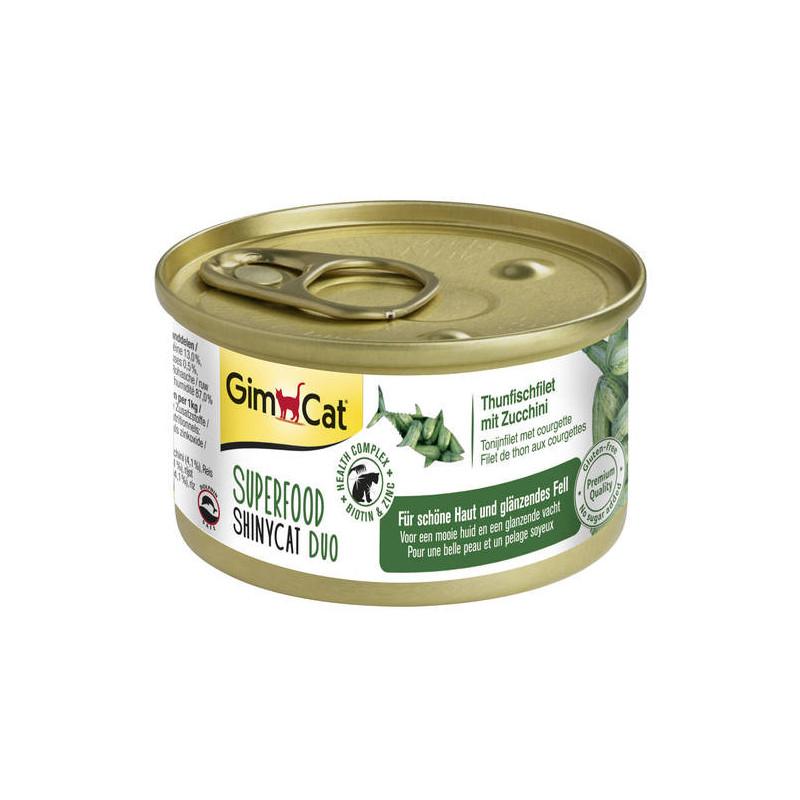 GimCat (ДжимКэт) SUPERFOOD ShinyCat Duo - Консервированный корм паштет с тунцом и цукини для котов