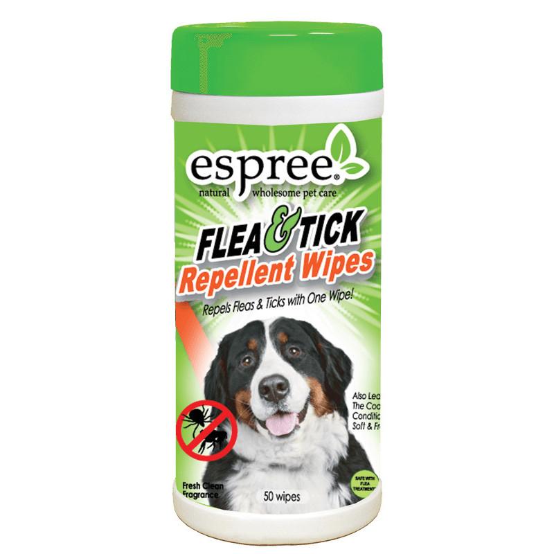 Влажные салфетки ESPREE FLEA & TICK для защиты собак от блох и клещей