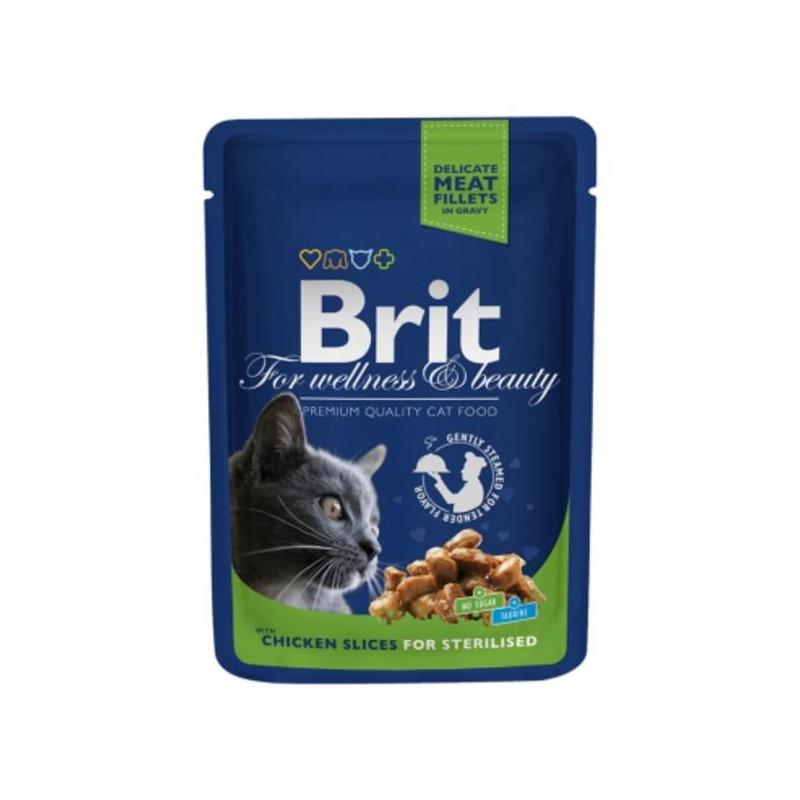 Brit Premium Cat (Брит Премиум). Пауч с курицей для стерилизованных котов