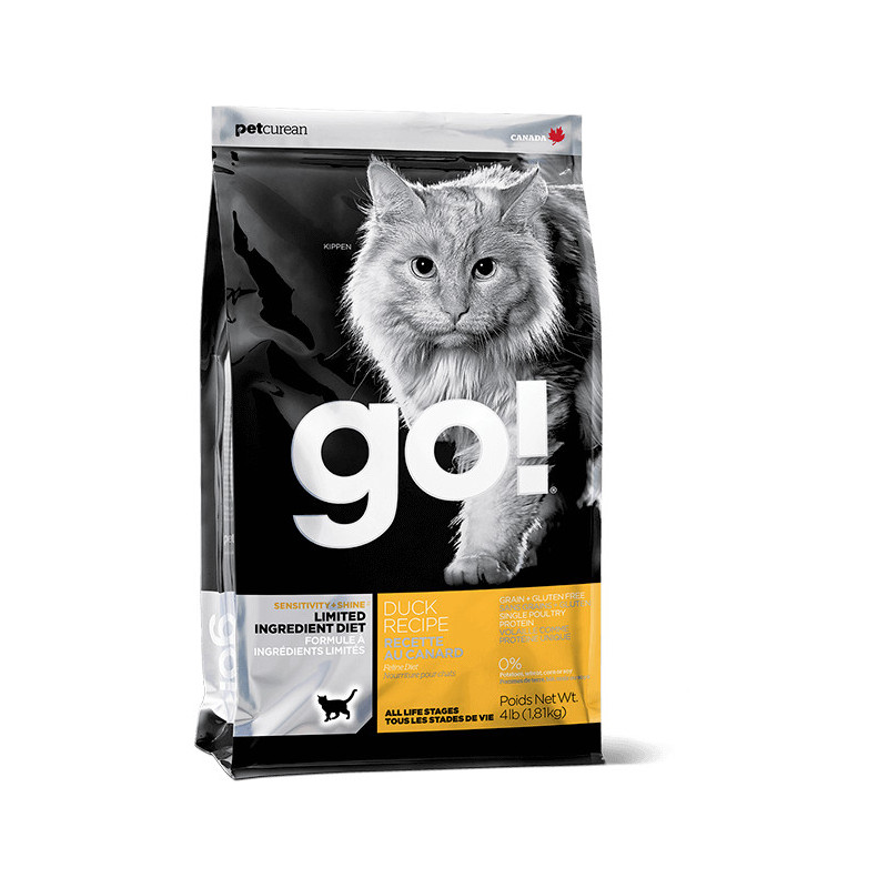 GO!™ Sensitivity + Shine Grain Free Duck Cat Recipe - беззерновой корм со свежей уткой для котят и кошек