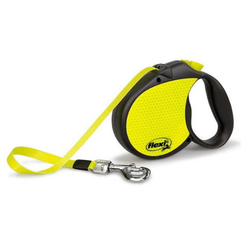 Flexi (Флекси) Neon Reflect L - Поводок-рулетка для собак, светящийся в темноте, лента (5 м, до 50 кг)