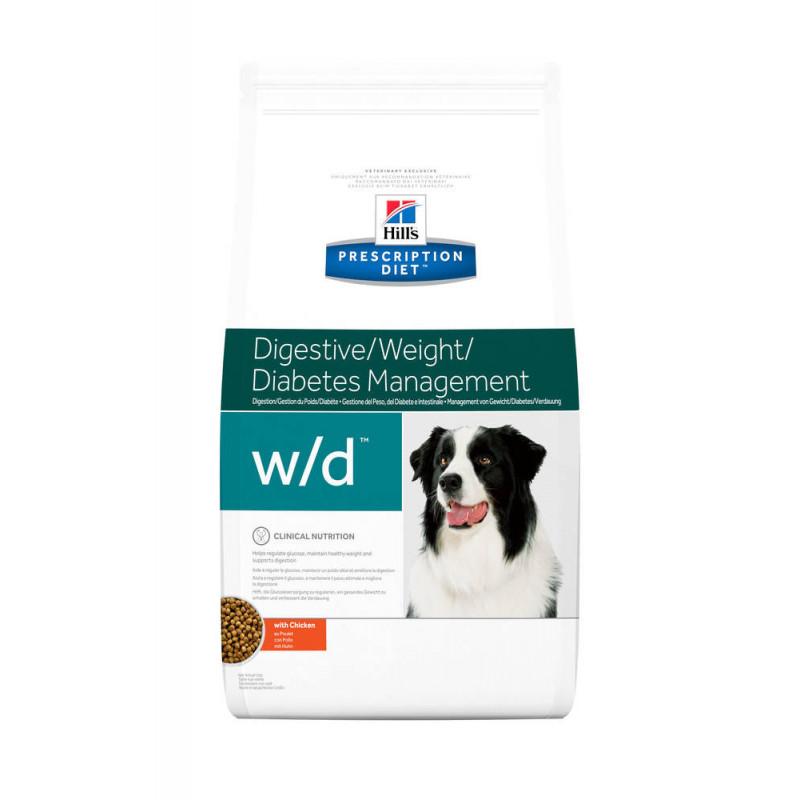 Hill's (Хиллс) Prescription Diet w/d Digestive/Weight Management - Корм-диета для собак с курицей КОНТРОЛЬ/СНИЖЕНИЕ ВЕСА