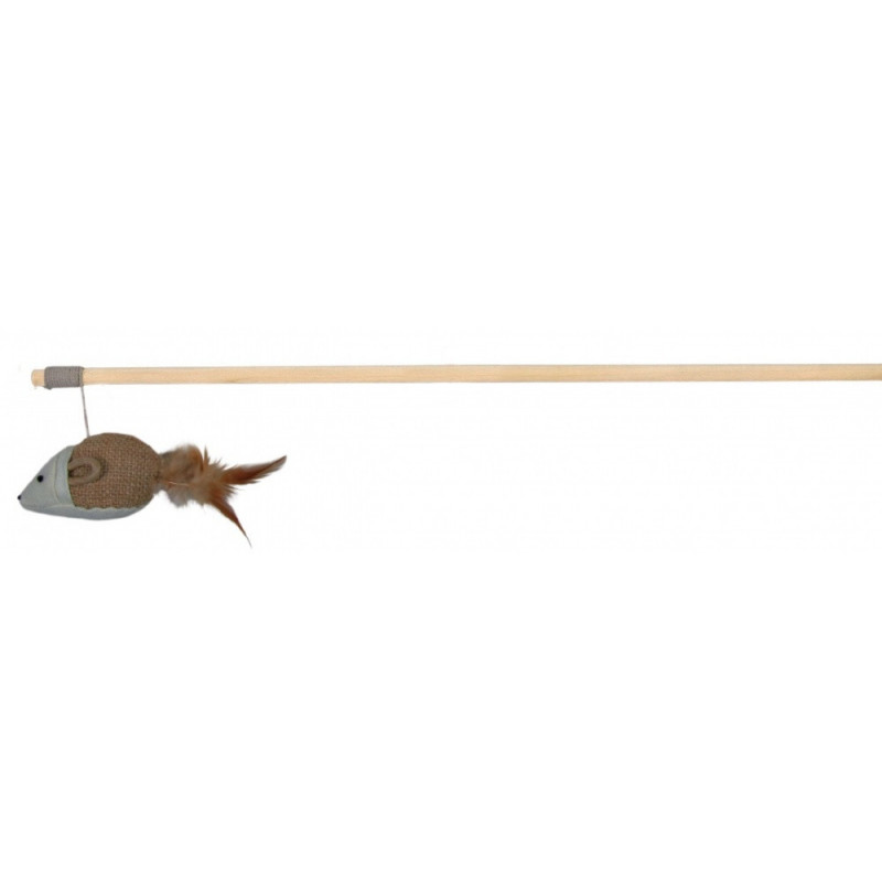 Trixie (Трикси) Удочка-дразнилка с мышкой из джута и перьями