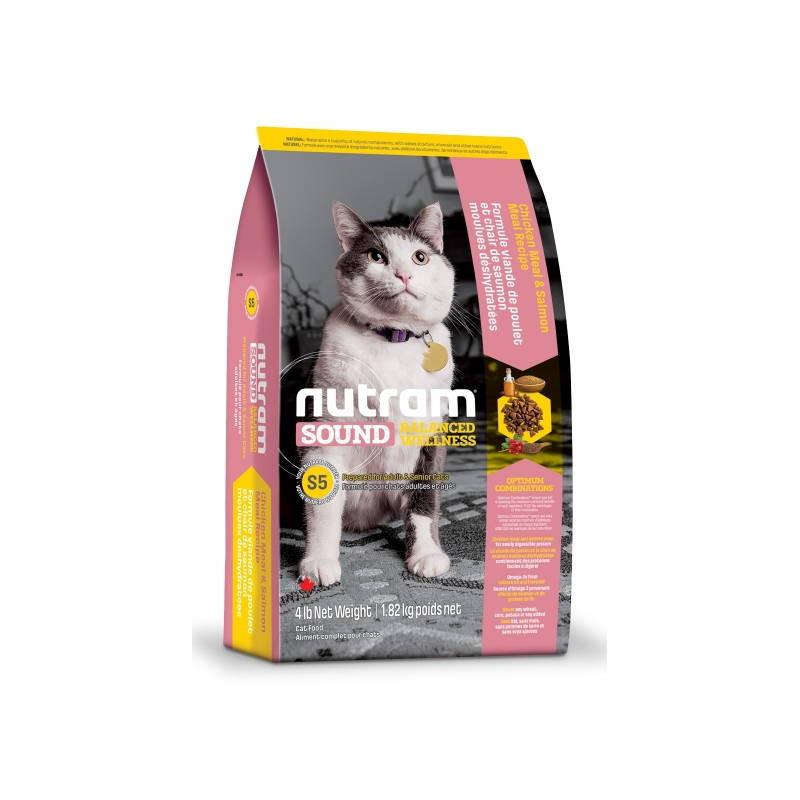 Nutram (Нутрам) S5 Sound Balanced Wellness Natural Adult&Senior Cat. Сухой корм с курицей и лососем для взрослых/пожилых котов