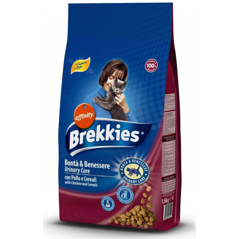 Brekkies (Бреккис) Urinary Care - Сухой корм на основе мяса и овощей для профилактики мочекаменной болезни у котов и кошек
