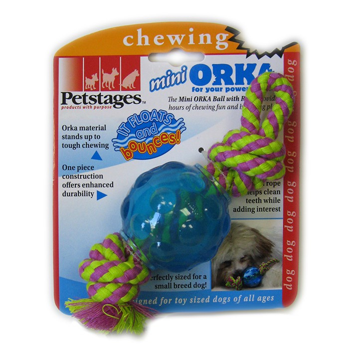"PETSTAGES Mini Orka Ball w/rope Игрушка для собак ""Орка мини мячик с канатиками"" - Фото 3"