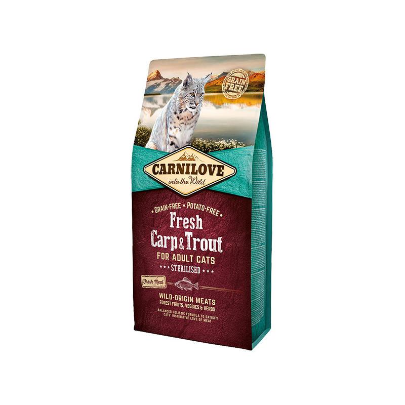 Carnilove (Карнилав) Cat Fresh Carp & Trout Sterilised. Сухой беззерновой полнорационный корм с карпом и форелью для стерилизованных котов